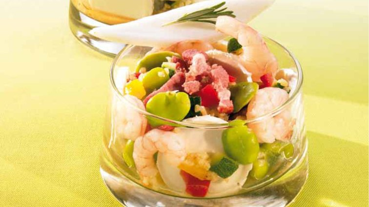 Salade mosaique feves/crevettes - 930 - PassionFroid - Grossiste alimentaire