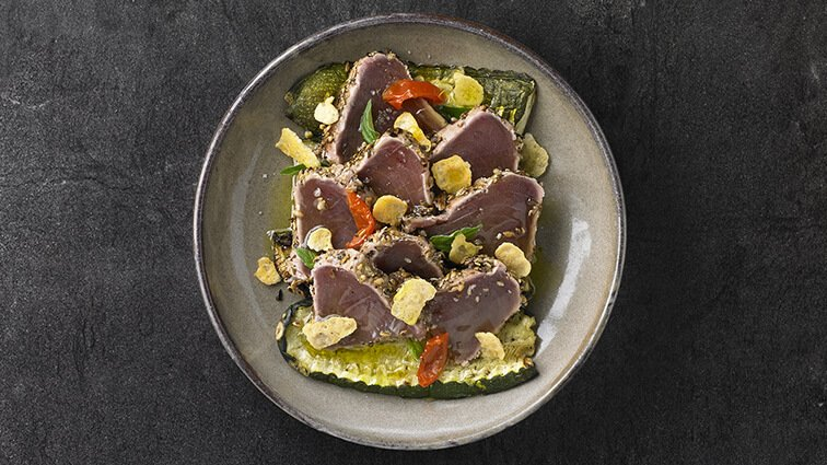 Tataki de thon mi-cuit, courgettes grillees - 2025 - PassionFroid - Grossiste alimentaire